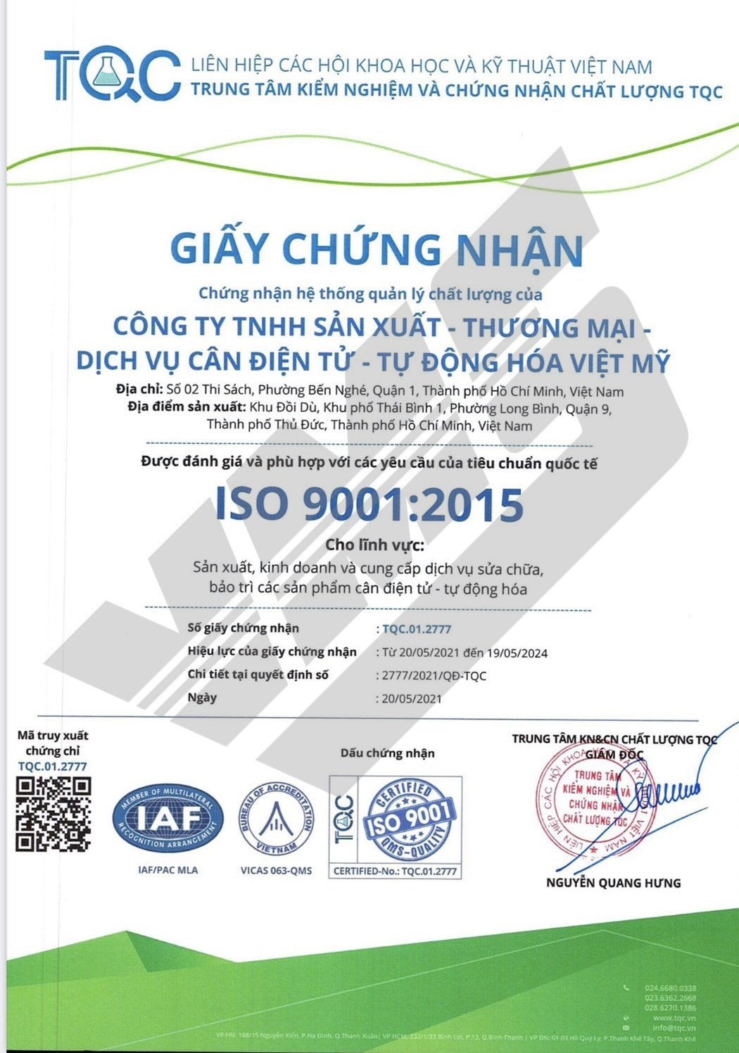 Chứng chỉ iso 90012015 - 1