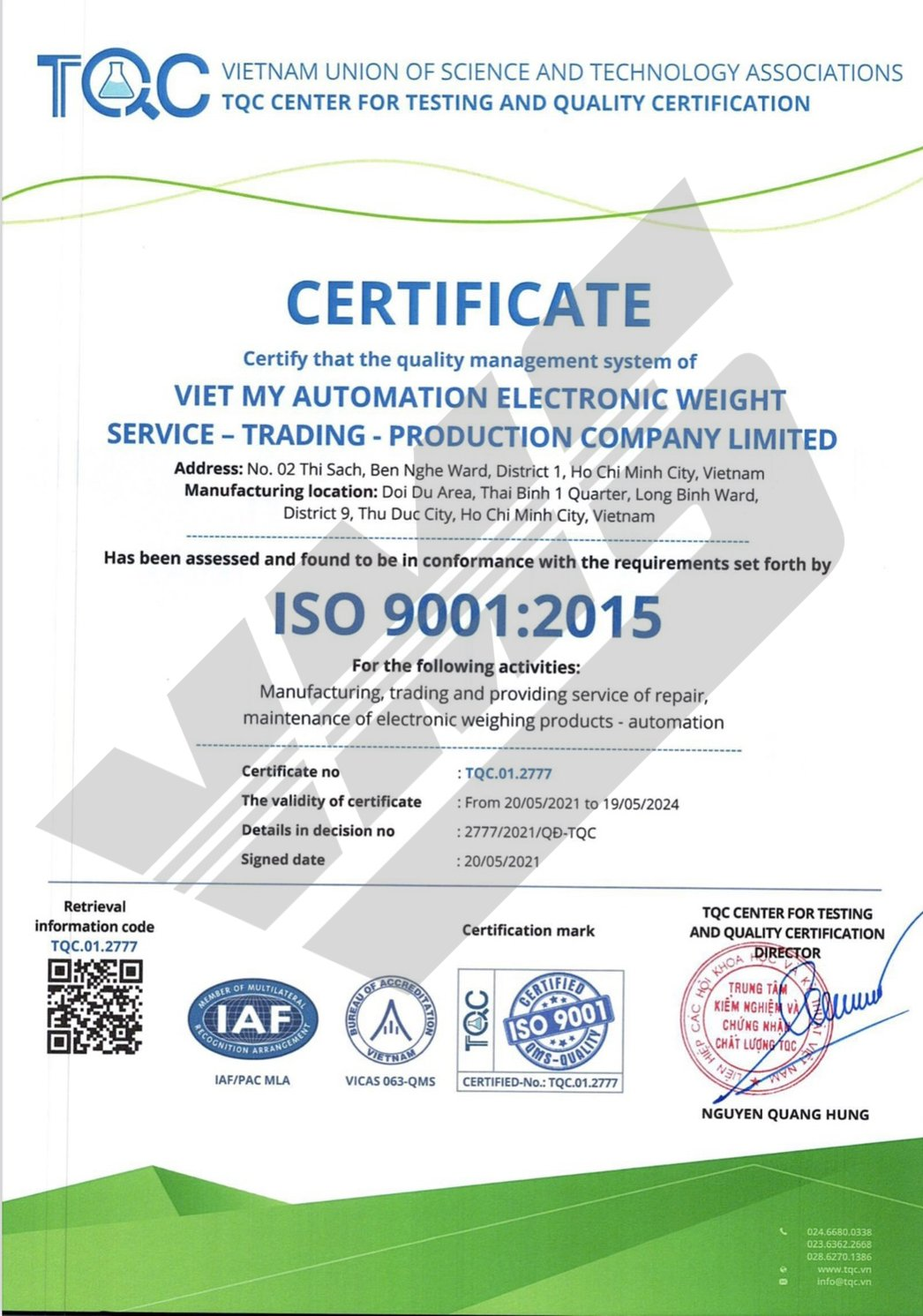 Chứng chỉ iso 90012015 - 2